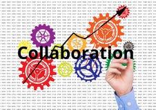 Zusammenarbeit schreiben auf den Schirm mit Farbzähnen Nummeriert Hintergrund stock abbildung