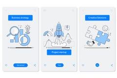 Zusammenarbeit und Interaktion, die mobilen Appseitenschirm mit linearen Konzepten onboarding sind Linie Piktogramme und infograp stock abbildung