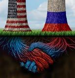 Zusammenarbeit USA Russland Stockfoto