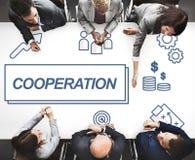 Zusammenarbeits-Geschäfts-Vereinbarungs-Zusammenarbeits-Grafik-Konzept lizenzfreie stockfotos
