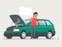 Zusammenbruch des Autos auf der Straße Ein Mann nennt den Service, um zu helfen Auch im corel abgehobenen Betrag stock abbildung