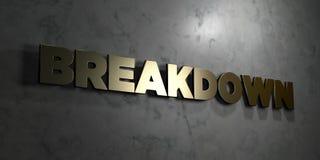 Zusammenbruch - Goldtext auf schwarzem Hintergrund - 3D übertrug freies Bild der Abgabe auf Lager stock abbildung