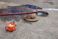 Zusammenbruch im Abwasserkanaltunnel Lizenzfreie Stockfotos