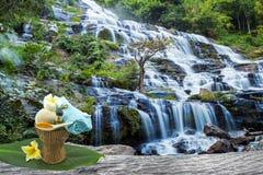 Zusammendrückender Kräuterball des Badekurortes, weiße Frangipaniblume, Gelbwurzpulver im weißen Löffelmassageöl im Bambuskorb am Lizenzfreies Stockbild