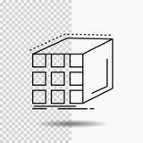 Zusammenfassung, Anhäufung, Würfel, dimensional, Matrix Linie Ikone auf transparentem Hintergrund Schwarze Ikonenvektorillustrati stock abbildung