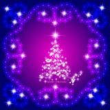 Zusammenfassung bewegt Hintergrund mit Weihnachtsbaum wellenartig Illustration in der Flieder und in den weißen Farben Stockbild