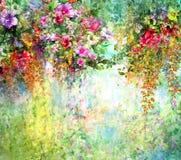 Zusammenfassung blüht Aquarellmalerei Frühling mehrfarbig Stock Abbildung