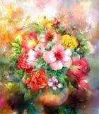 Zusammenfassung blüht Aquarellmalerei Mehrfarbige Blumenillustration des Frühlinges Stockfotografie