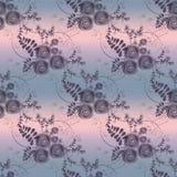 Zusammenfassung blüht Retro- nahtloses Muster auf grauem Hintergrund Lizenzfreie Stockbilder