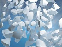 Zusammenfassung 3d mit Fragmenten des Bereichs auf Himmelhintergrund Lizenzfreies Stockbild