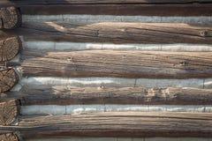 Zusammenfassung der hölzernen Weinlese-Antiken-Blockhaus-Wand Stockfoto
