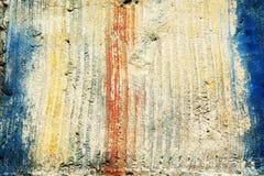 Zusammenfassung der strukturierten Zement-Wand mit Farbstreifen Stockfotos