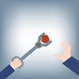 Zusammenfassung des Geschäftsmannhandversuchs, zum des Apfels zu ergreifen und Konkurrent nehmen mit Werkzeugen, Vektorillustrati Lizenzfreie Stockfotografie