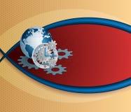Zusammenfassung, Design für Industrietechnologiehintergrund mit Erdkugel und Gang Lizenzfreies Stockfoto