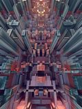 Zusammenfassung farbiges futuristisches techno Muster Illustration Digital 3d stock abbildung