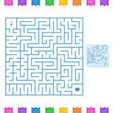Zusammenfassung farbiges quadratisches Labyrinth Ein interessantes Spiel für Kinder und Jugendliche Einfache flache Vektorillustr Vektor Abbildung
