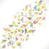 Zusammenfassung geometrisch mit Mischungsvielzahllinien, Punkten und buntem Klaps stock abbildung