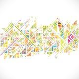 Zusammenfassung geometrisch mit Mischungsvielzahllinien, Punkten und buntem Musterhintergrund lizenzfreie abbildung