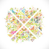 Zusammenfassung geometrisch mit Mischungsvielzahllinien, Punkten und buntem Musterhintergrund stock abbildung