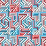 Zusammenfassung gezeichnetes nahtloses Muster des Labyrinths Stockfoto