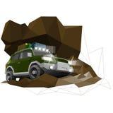 Zusammenfassung, Kunst, Auto, Automobil, Auto, Konzept, kreativ, Design, Entwurf, Ausstellung, Grün, Hecktürmodell, Ikone, Illust lizenzfreie abbildung