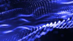 Zusammenfassung schlang dynamische Zusammensetzung von leuchtenden Partikeln wie Girlandenfliege in einer Luft Abstrakter Partike stock abbildung