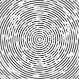 Zusammenfassung segmentierte geometrische Kreisform Konzentrische radialkreise Ringe Konzentrische segmentierte Kreise Swirly Ent lizenzfreie abbildung
