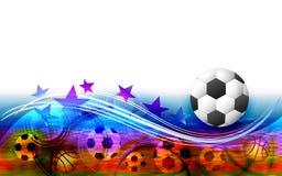Zusammenfassung trägt Hintergrund mit Fußball zur Schau Stockfoto
