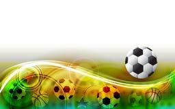Zusammenfassung trägt Hintergrund mit Fußball zur Schau Stockbild