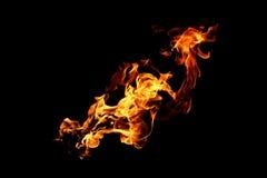 Zusammenfassung unscharfe Feuerflammen lokalisiert auf Schwarzem Lizenzfreies Stockbild