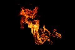 Zusammenfassung unscharfe Feuerflammen lokalisiert auf Schwarzem Lizenzfreies Stockfoto