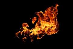 Zusammenfassung unscharfe Feuerflammen lokalisiert auf Schwarzem Lizenzfreie Stockfotos