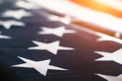 Zusammenfassung unscharfer Hintergrund der amerikanischen Flagge, Stockbilder