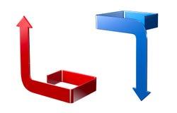 Zusammenfassung verbog die roten und blauen Pfeile, die auf Weiß lokalisiert wurden Stockbilder