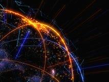 Zusammenfassung verbundener heller Dots On Dark Background Lizenzfreies Stockfoto