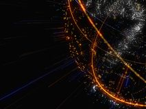 Zusammenfassung verbundener heller Dots On Dark Background Lizenzfreie Stockfotografie