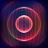 Zusammenfassung verzerrter Bereich Explosion des Bereichs mit glühenden Partikeln Abstraktes Kugel-Gitter Bereich-Illustration De Lizenzfreie Stockfotos