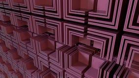 Zusammenfassung vieler Würfel schnitt zur Hälfte, Illustration 3d stock abbildung