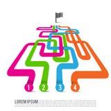 Zusammenfassung vier färben Wegwettbewerbslösungsweisen-Straßenziel zu Stockfoto