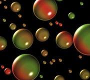 Zusammenfassung von den runden Kugeln, die gegen einen schwarzen Hintergrund schwimmen Lizenzfreie Stockfotografie