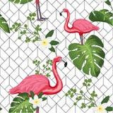Zusammenfassung, Weinlesesommermuster mit rosa Flamingos und geometrischer Hintergrund Für Gewebe Beschaffenheit, Drucke, Tapete, lizenzfreie stockbilder