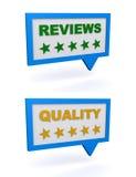 Zusammenfassungen und Qualität Stockfoto