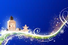 Zusammenfassungs-blaues grünes rosa Weihnachten - in hohem Grade ausführlich, reich verzierte Illustration lizenzfreie abbildung