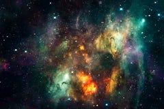 Zusammenfassungs-galaktische explodierende Supernovä in einer mehrfarbigen Nebelfleck-Galaxie-Grafik vektor abbildung