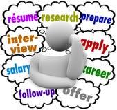 Zusammenfassungs-Job Hunting Thought Cloud Words-Interview wenden Prozess an lizenzfreie abbildung