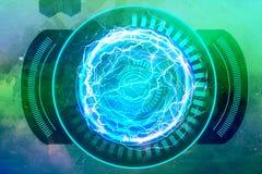 Zusammenfassungs-künstlerische starke elektrische Energie-Feld-Grafik auf einem mehrfarbigen Hintergrund stock abbildung