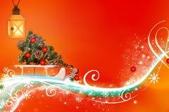 Zusammenfassungs-orange gelbes rotes rosa Weihnachten - in hohem Grade ausführlich, reich verzierte Illustration lizenzfreie abbildung