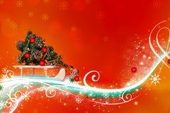 Zusammenfassungs-orange rotes Weihnachten - in hohem Grade ausführlich, reich verzierte Illustration lizenzfreie abbildung