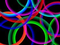 Zusammenfassungs-Regenbogen-bunte Kreise auf schwarzem Hintergrund stockbild