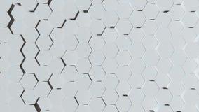 Zusammenfassungs-schlingendes Videohintergrund-weißes Hexagon stock abbildung